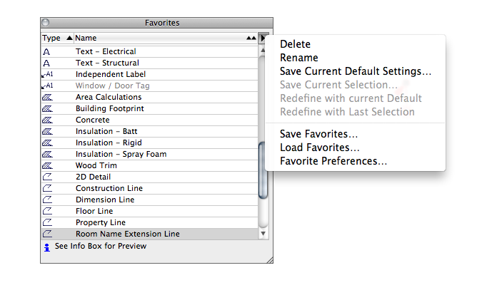 ArchiCAD Favorites export
